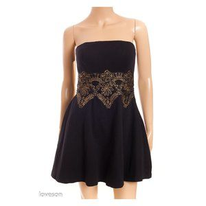 BEBE Gold Embroidery Strapless Mini Dress
